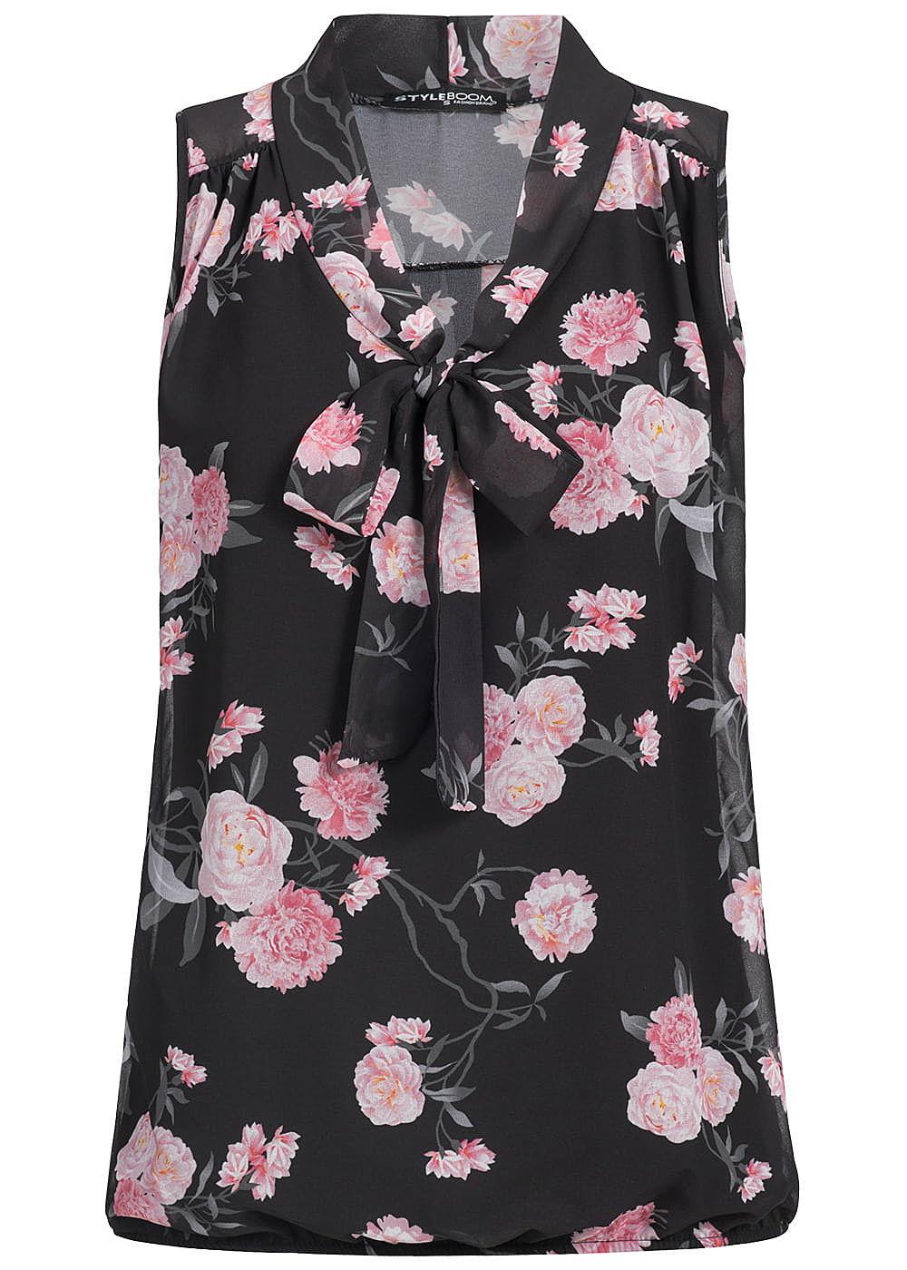 styleboom fashion damen chiffon top schleife blumen muster schwarz rosa 77onlineshop. Black Bedroom Furniture Sets. Home Design Ideas