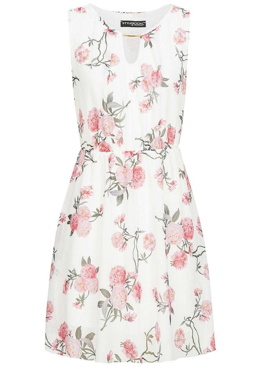 9d1391f95a4 Styleboom Fashion Damen Kleid Blumen Muster Röhren Ornament 2-lagig ...