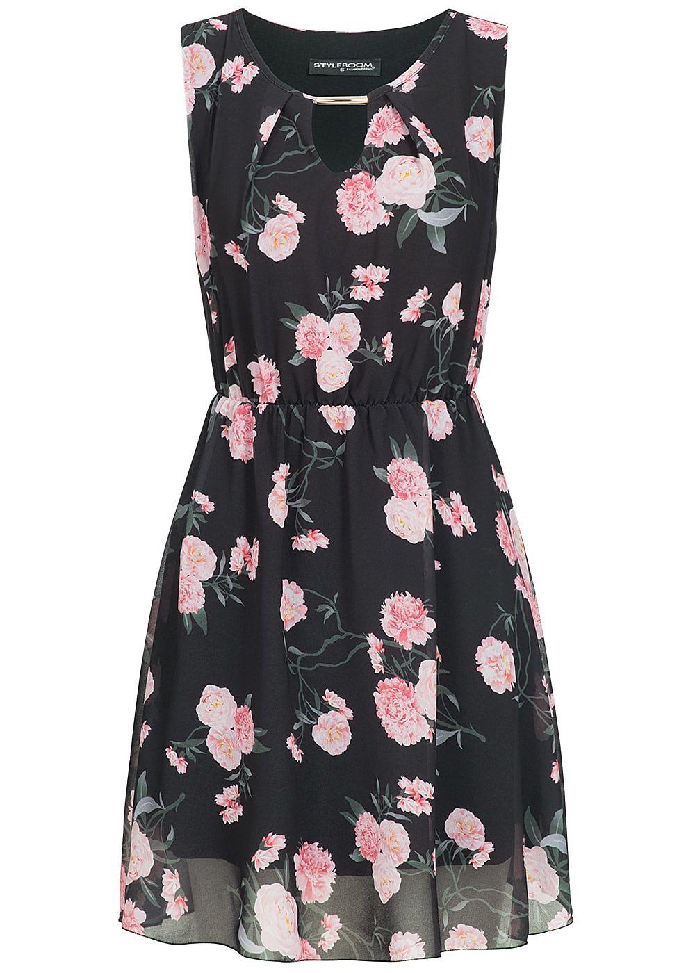 styleboom fashion damen kleid blumen muster r hren ornament 2 lagig schwarz rosa 77onlineshop. Black Bedroom Furniture Sets. Home Design Ideas