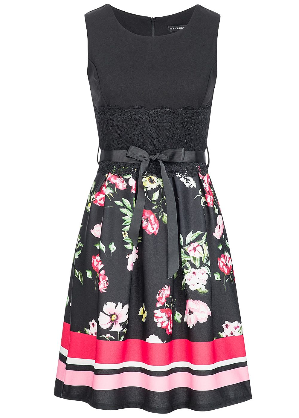 Styleboom Fashion Damen Mini Kleid Blumen Muster Bindeband Spitze ...