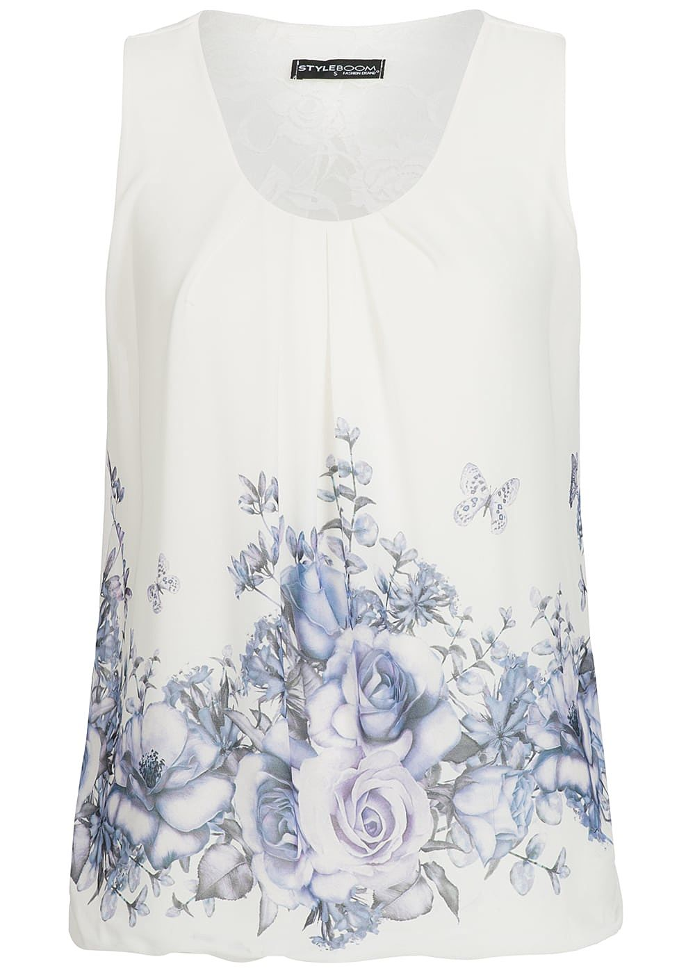 Styleboom Fashion Damen Chiffon Top Flower Print weiss lila - Art.-Nr.: 19056345-XS-WH
