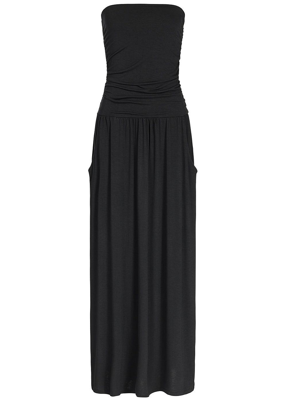 styleboom fashion bandeau longform kleid 2 taschen vorne kn chellang schwarz 77onlineshop. Black Bedroom Furniture Sets. Home Design Ideas