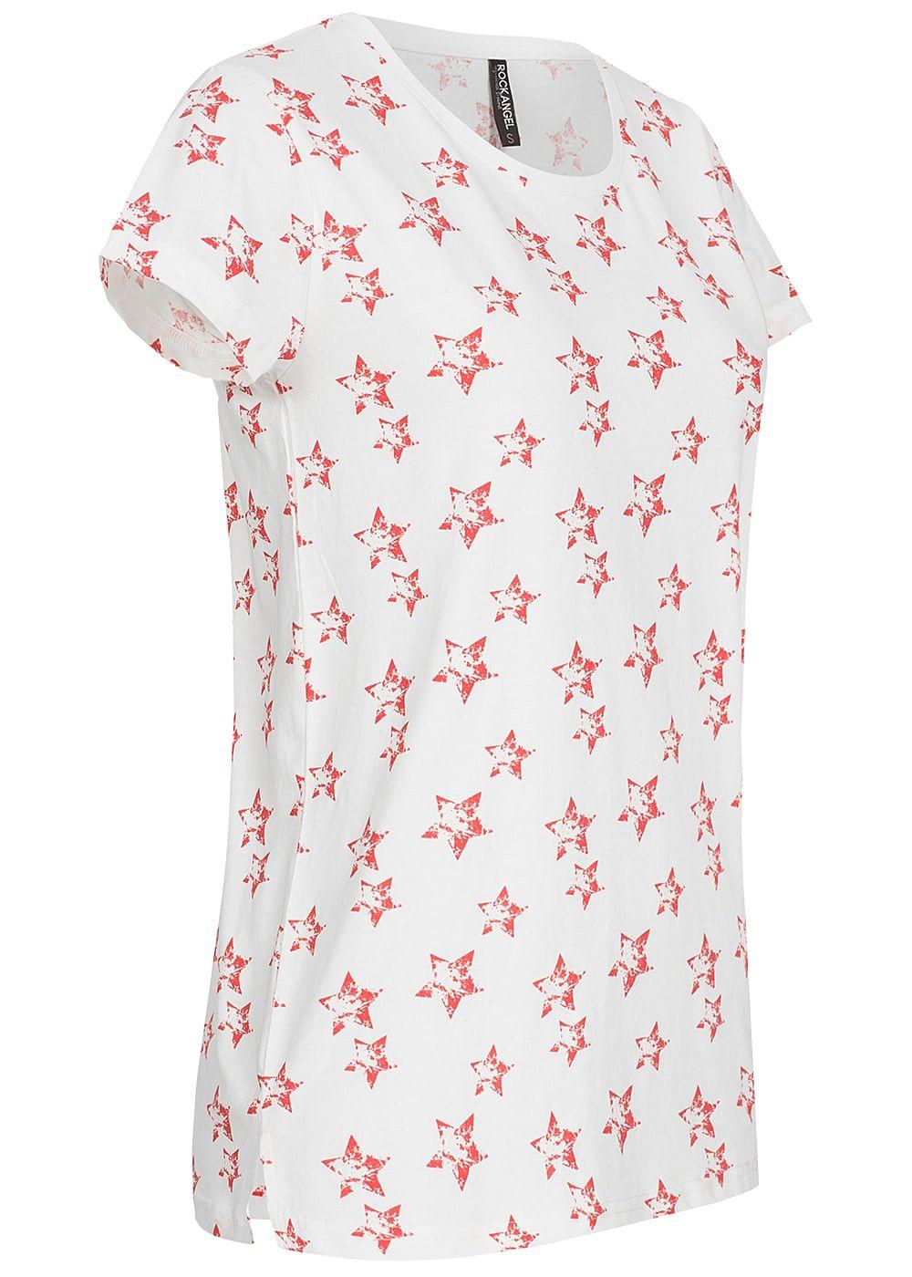 3639d2b9445b1b Eight2Nine Damen T-Shirt Stern Muster by Rock Angel off weiss rot ...