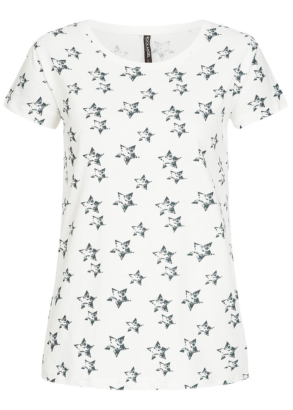 1025cf50b9baac Eight2Nine Damen T-Shirt Stern Muster by Rock Angel off weiss blau ...