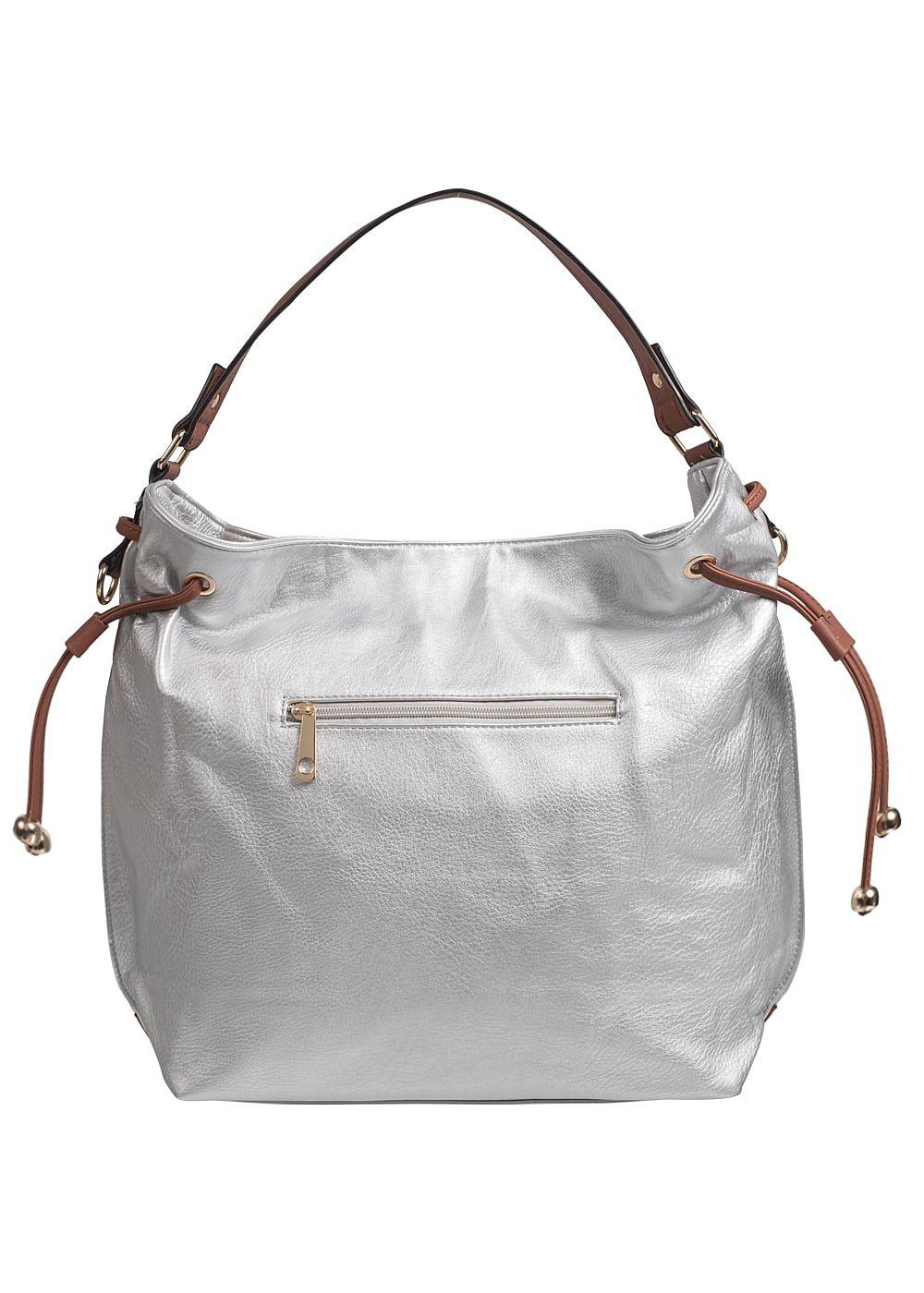 Styleboom Fashion Damen Handtasche Breite: 46cm Höhe: 33cm silber braun