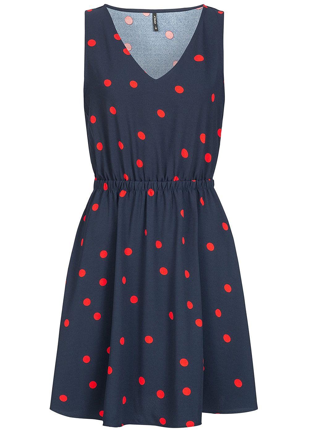 ONLY Damen Kleid Punkte Muster Rückenausschnitt night sky ...