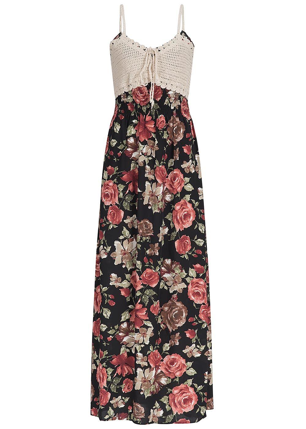 a5bcab3e1a3475 Seventyseven Lifestyle Damen Longform Kleid Häkelbesatz Rosen Print ...
