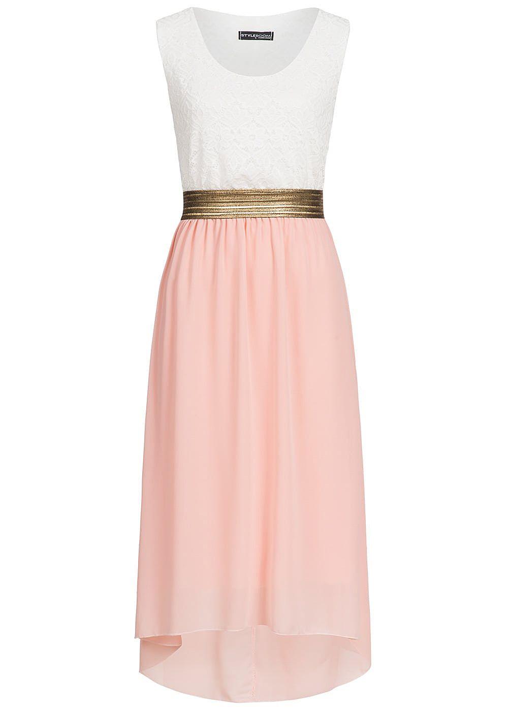 styleboom fashion damen chiffon kleid spitze weiss rosa