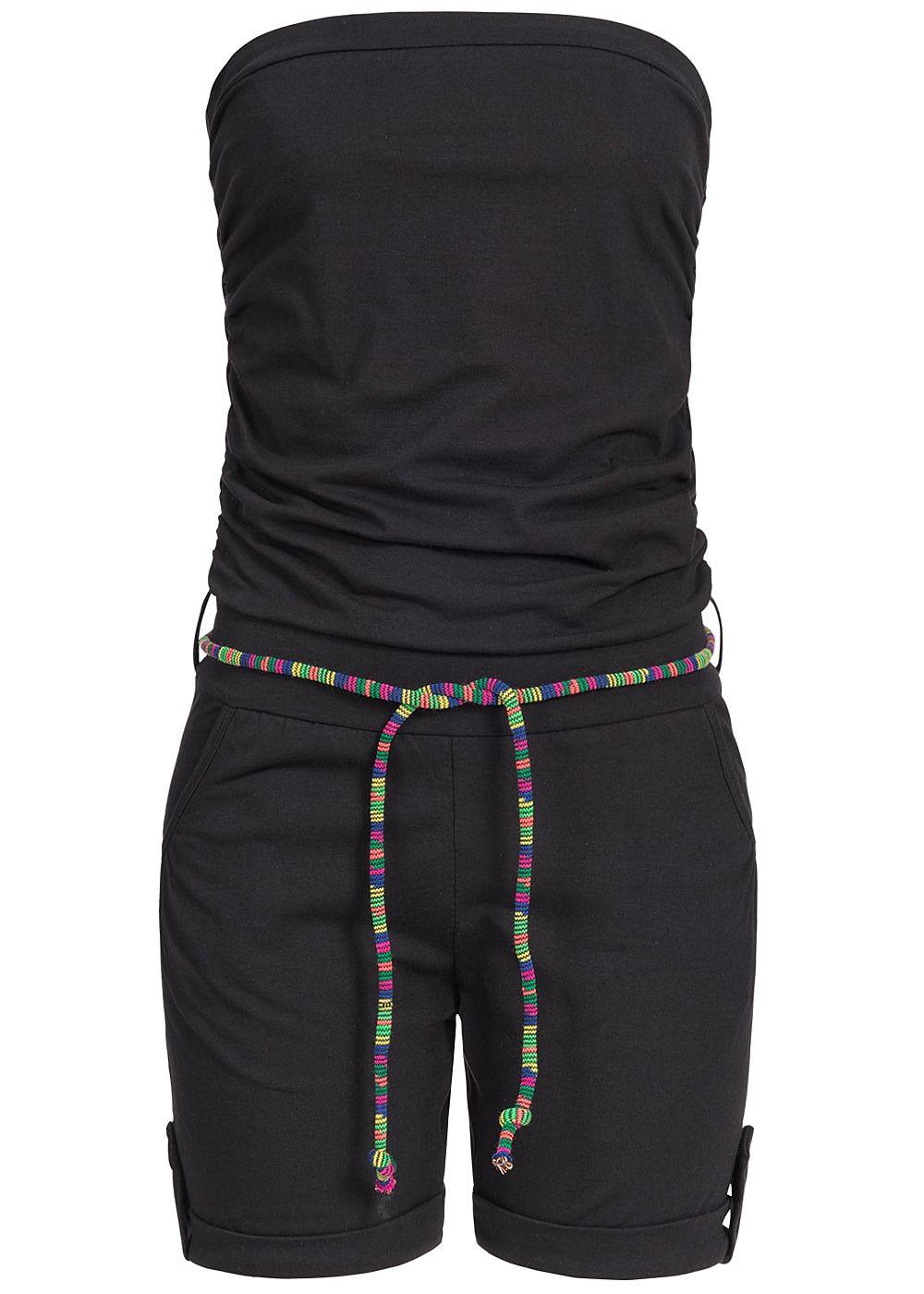 Styleboom Fashion Damen Bandeau Jumpsuit 2 Taschen farbiger ... 047c91cd5c