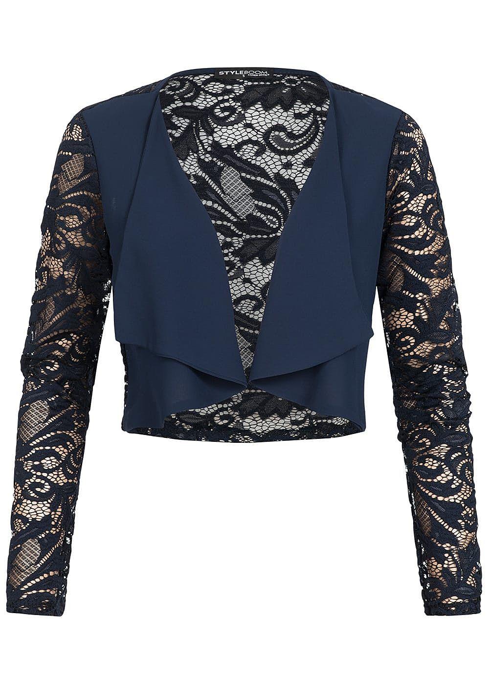 Styleboom Fashion Damen Chiffon Bolero Spitze navy blau