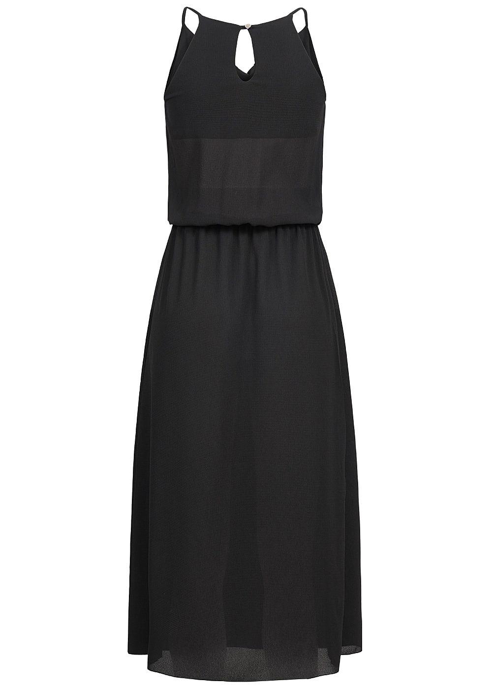 styleboom fashion damen longform kleid wasserfall look schwarz 77onlineshop. Black Bedroom Furniture Sets. Home Design Ideas