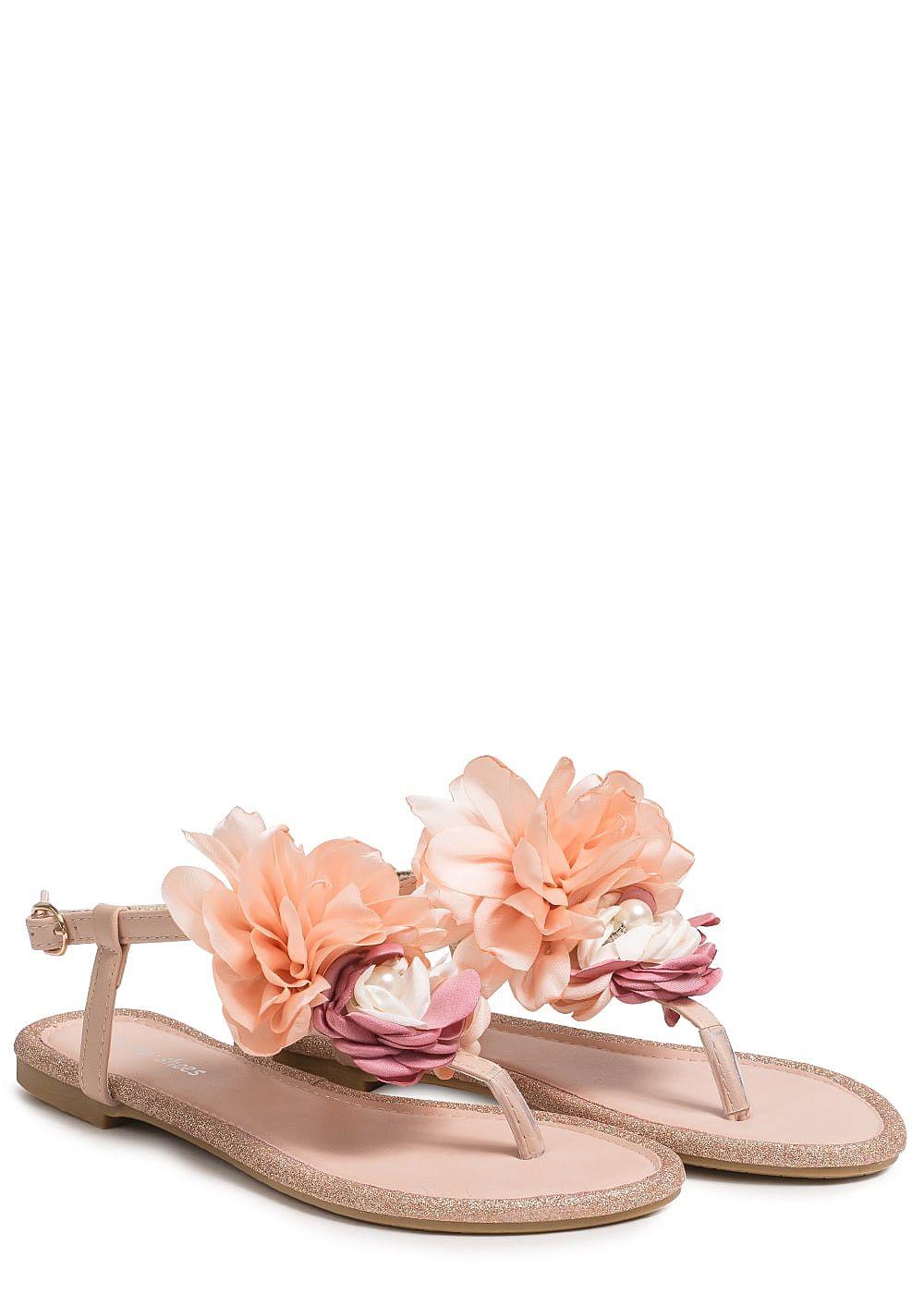 ff785331bbc812 Seventyseven Lifestyle Schuh Damen Sandalette Deko Blume Glitzer ...