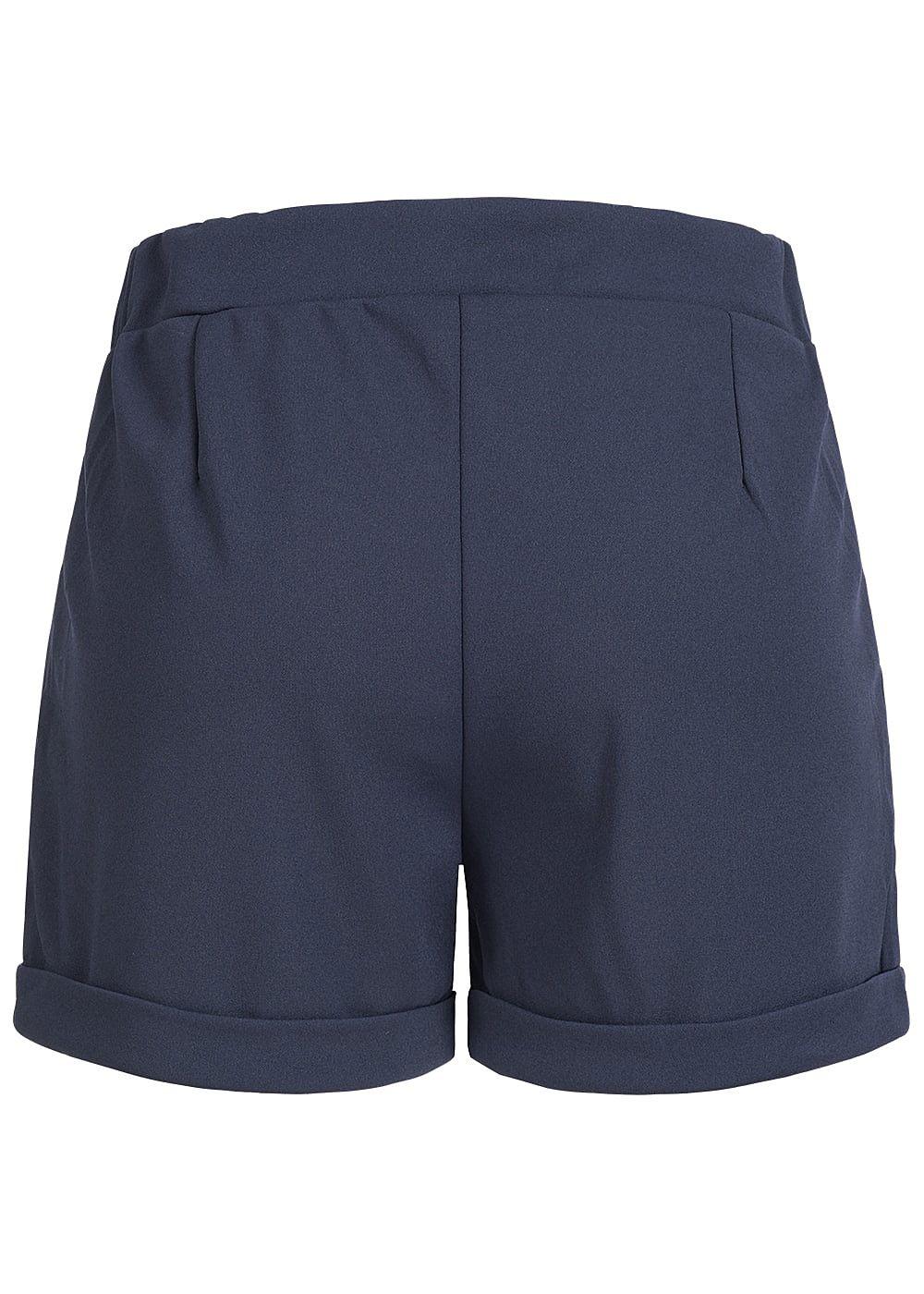 87a97fb27fa9a6 Styleboom Fashion Damen Paper-Bag Shorts 2 Taschen Bindegürtel navy ...