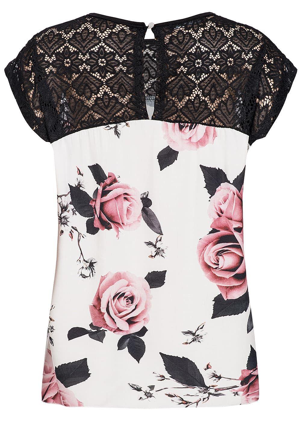 styleboom fashion damen blusen top spitze rosen print weiss schwarz 77onlineshop. Black Bedroom Furniture Sets. Home Design Ideas