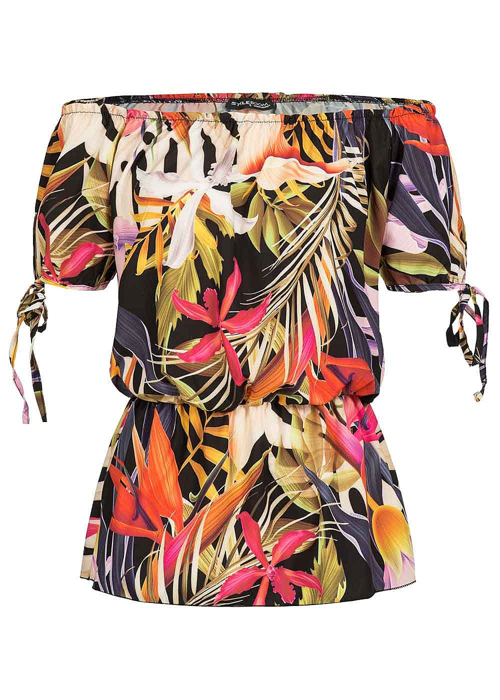 Styleboom Fashion Damen Off-Shoulder Top Tropical Print schwarz pink rosa - Art.-Nr.: 18067734-M-BK