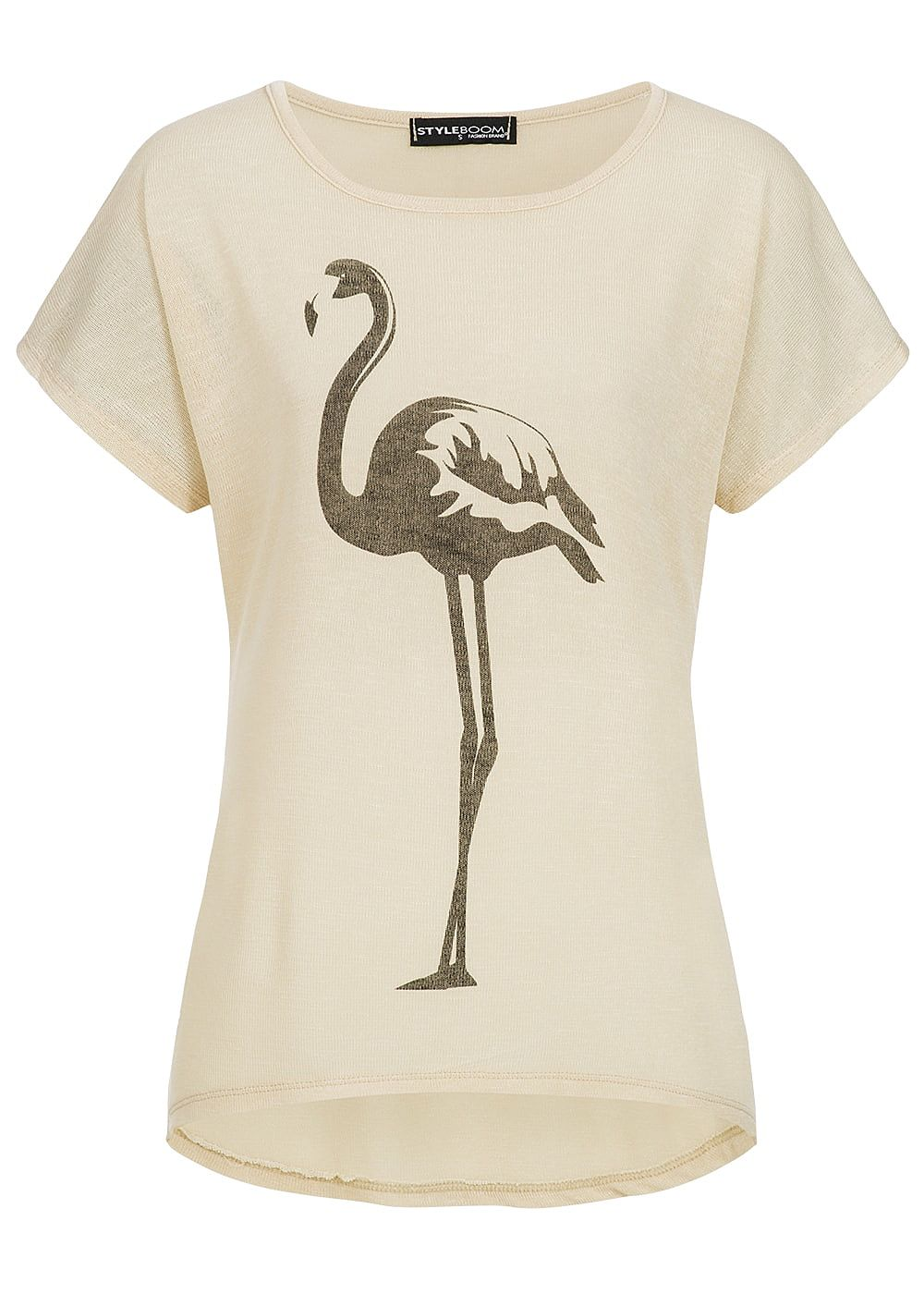styleboom fashion damen t shirt flamingo print beige schwarz 77onlineshop. Black Bedroom Furniture Sets. Home Design Ideas