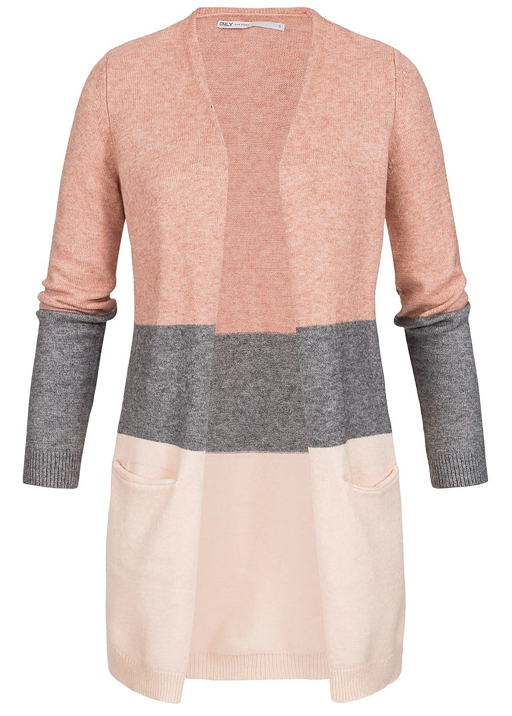ONLY Damen NOOS Midi Colorblock Cardigan 2-Pockets misty rosa melange - Art.-Nr.: 20094201