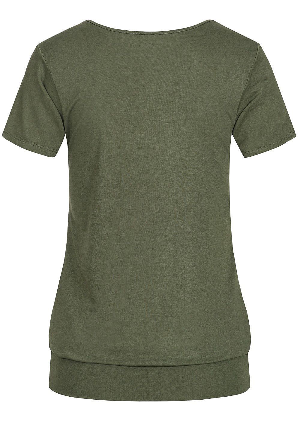 a4b4cc24f40c7f Styleboom Fashion Damen T-Shirt Deko Knöpfe military grün - 77onlineshop