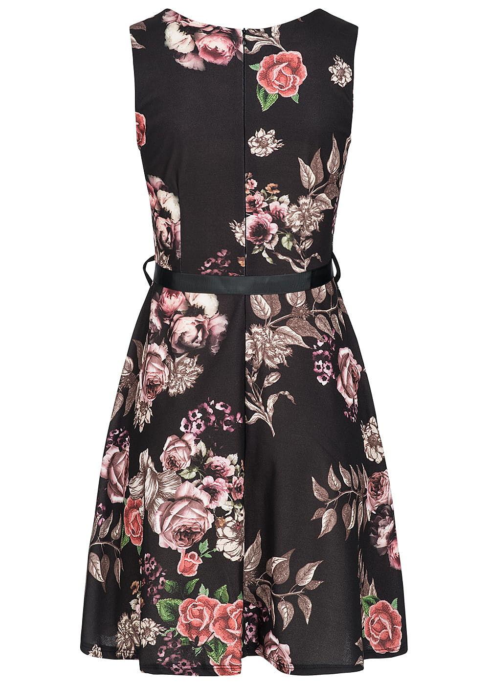 styleboom fashion damen mini kleid blumen print schwarz 77onlineshop. Black Bedroom Furniture Sets. Home Design Ideas