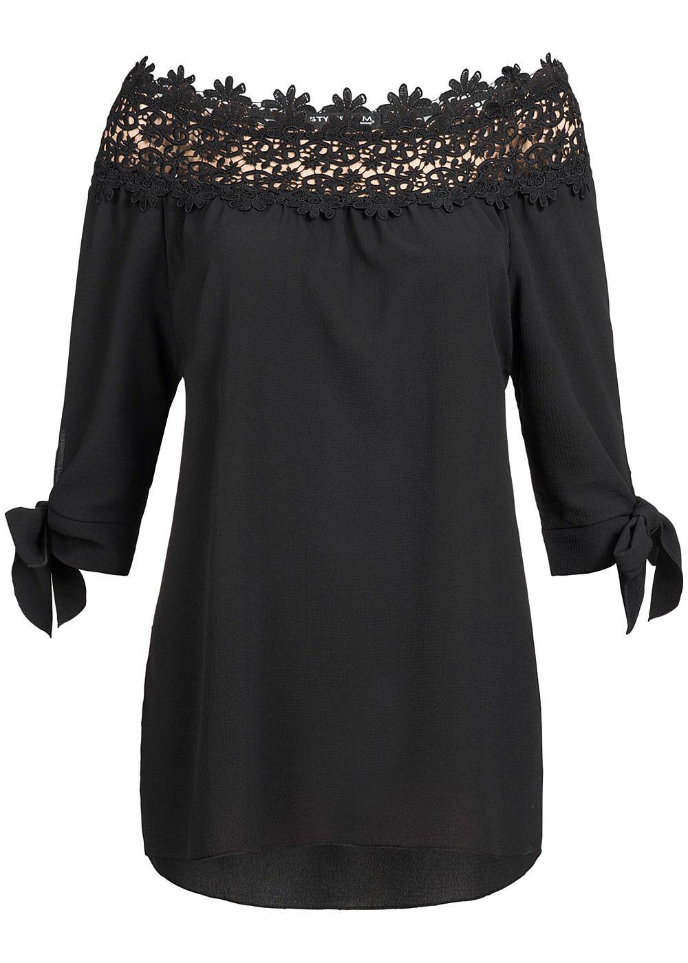 styleboom fashion damen off shoulder blusen shirt h kelbesatz schwarz 77onlineshop. Black Bedroom Furniture Sets. Home Design Ideas
