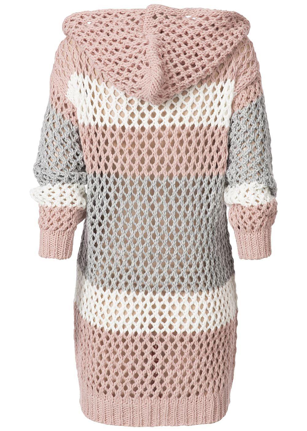 styleboom fashion damen grobstrick cardigan kapuze colorblock rosa grau weiss 77onlineshop. Black Bedroom Furniture Sets. Home Design Ideas