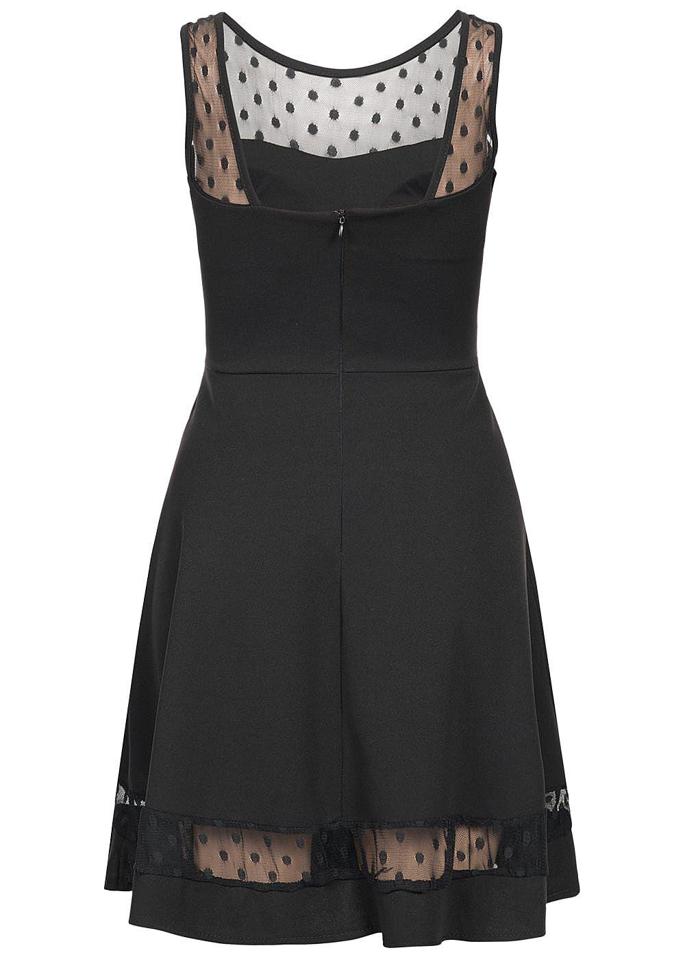 styleboom fashion damen mini chiffon kleid punkte muster brustpads schwarz 77onlineshop. Black Bedroom Furniture Sets. Home Design Ideas