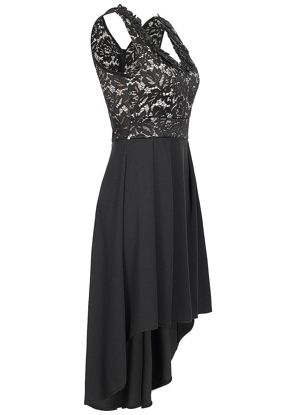 styleboom fashion damen kleid spitze deko blumen brustpads schwarz rosa 77onlineshop. Black Bedroom Furniture Sets. Home Design Ideas