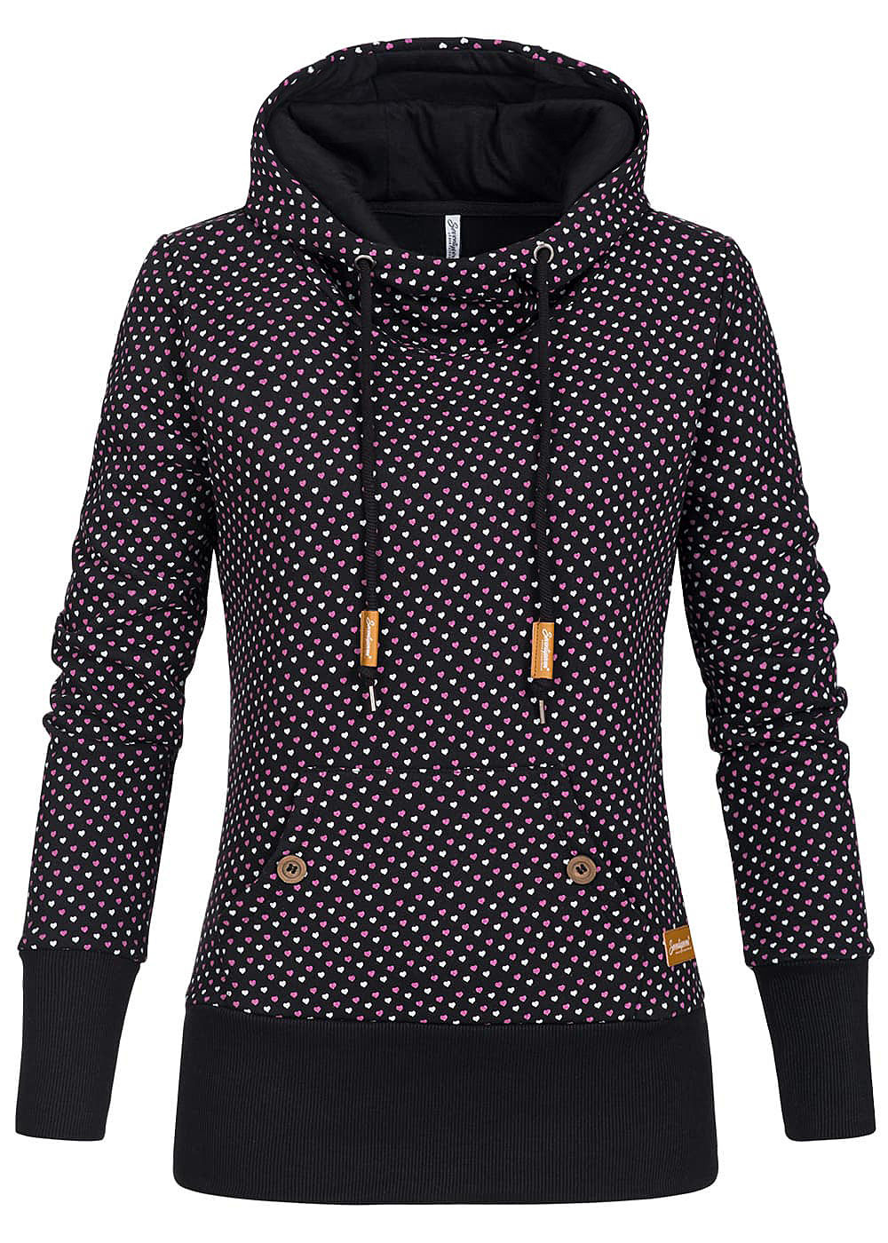seventyseven lifestyle damen hoodie kapuze herz muster schwarz 77onlineshop. Black Bedroom Furniture Sets. Home Design Ideas
