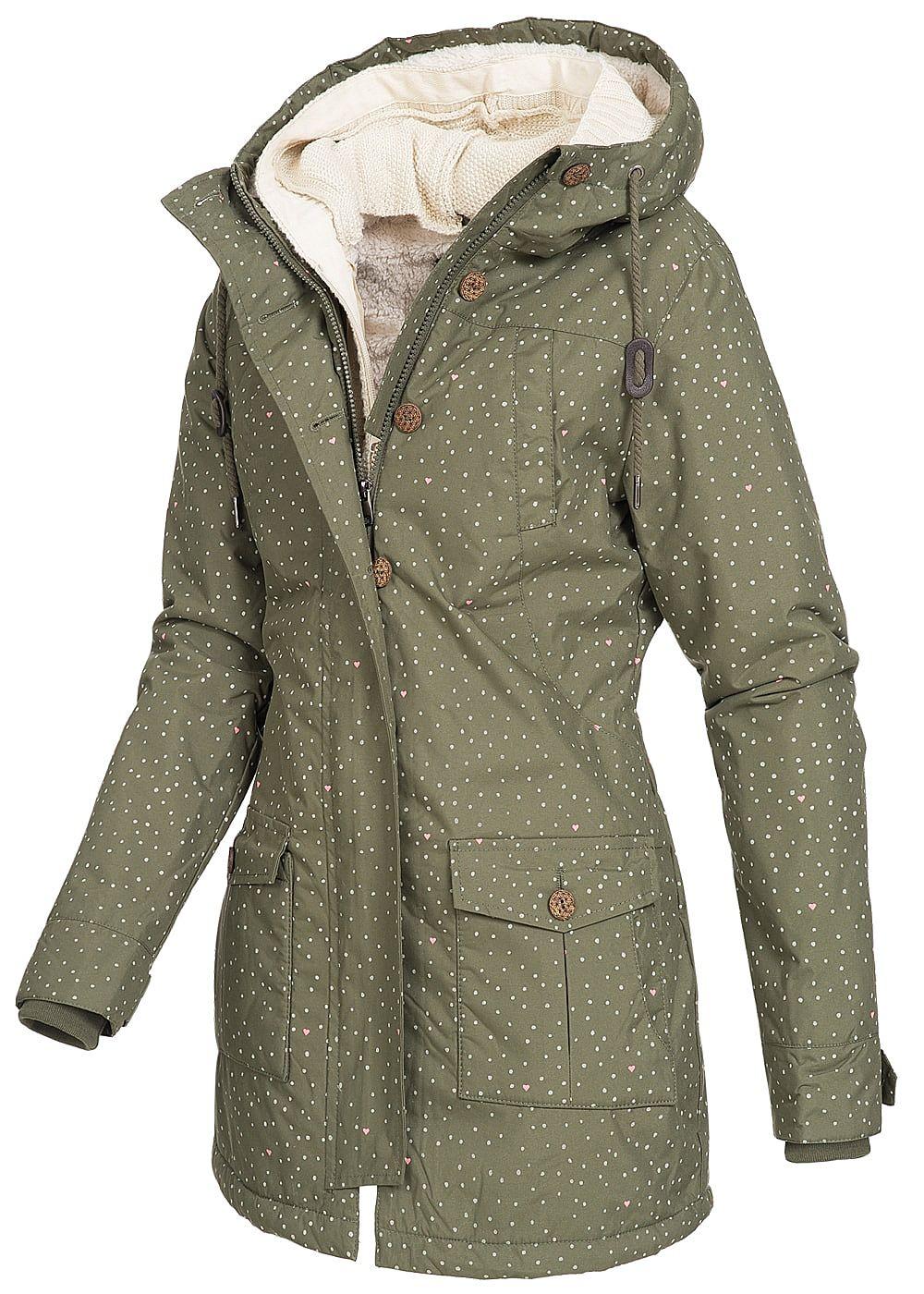 019e29a3e13c76 Seventyseven Damen Winter Jacke Kapuze 2in1 Optik Punkte Muster olive grün