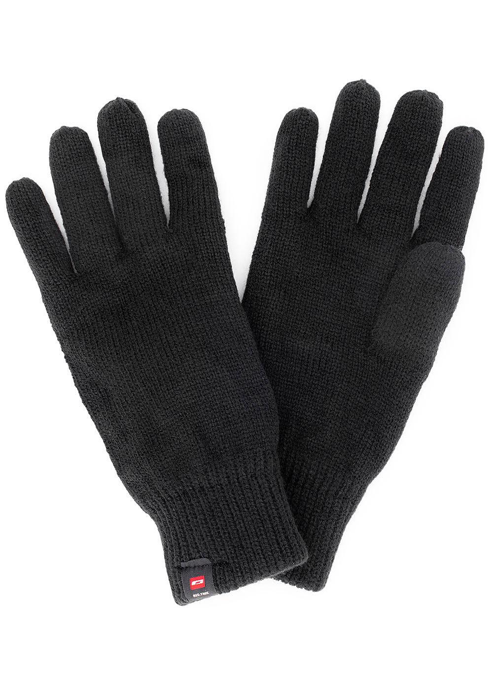 021f6238bd32bf Jack and Jones Herren Strick Handschuhe mit Fleece schwarz ...