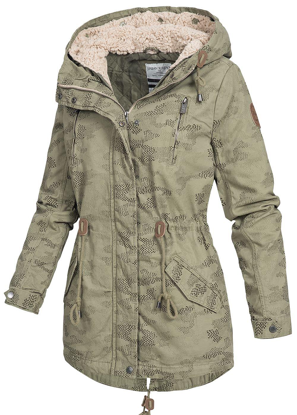 XL NEU!!! S URBAN SURFACE Damen Parka Jacke schwarz oliv grün Kapuze Gr L M