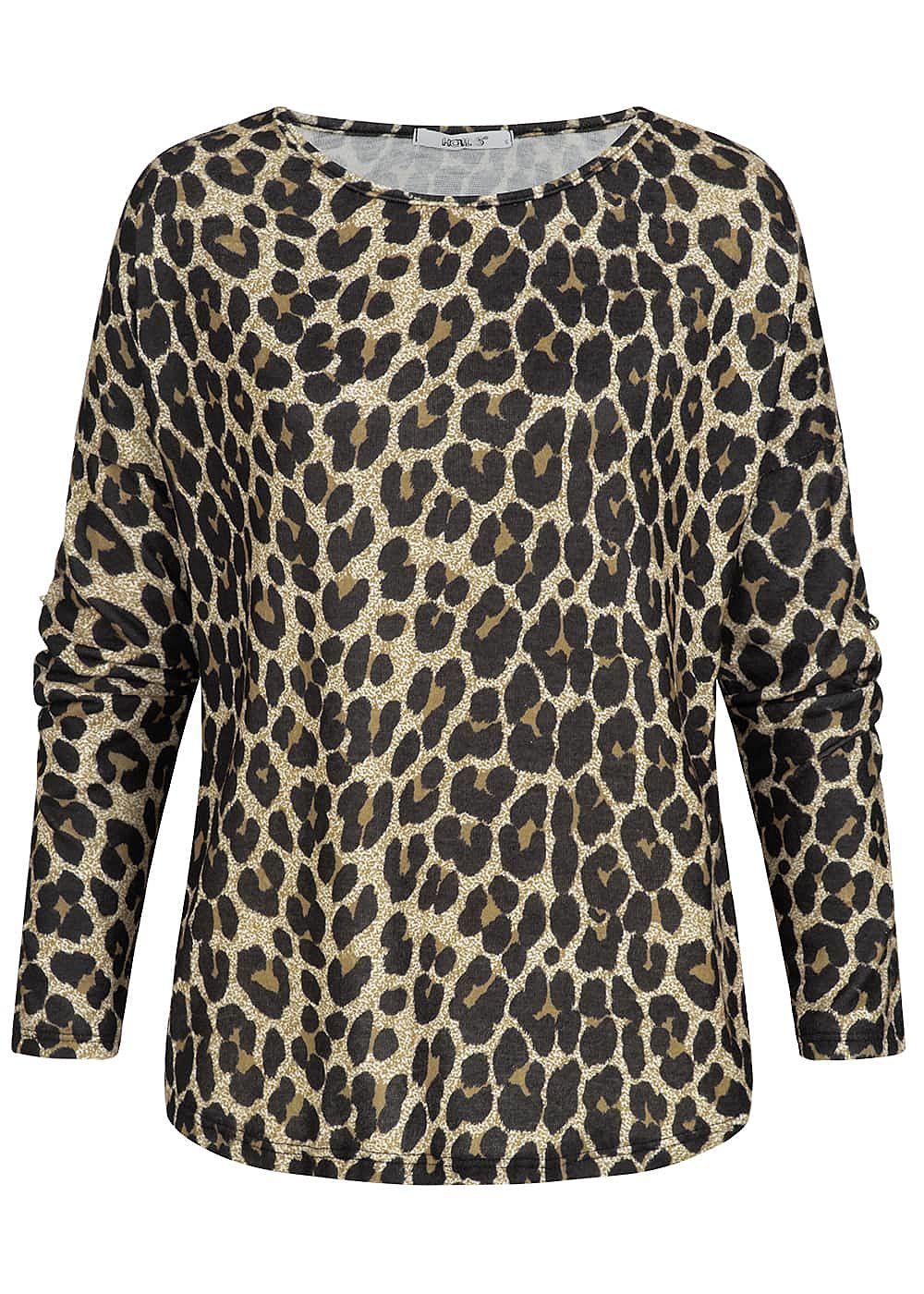 decd7e3323270f Hailys Damen Turn-Up Shirt Leo Print braun schwarz - 77onlineshop