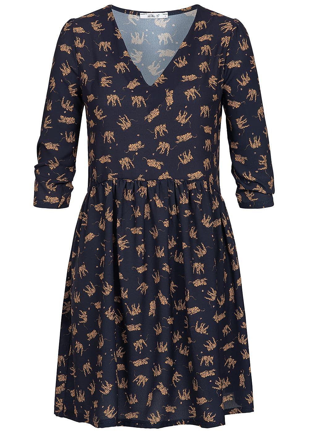 Hailys Damen 3/4 Arm Kleid Tiger Muster navy blau braun ...
