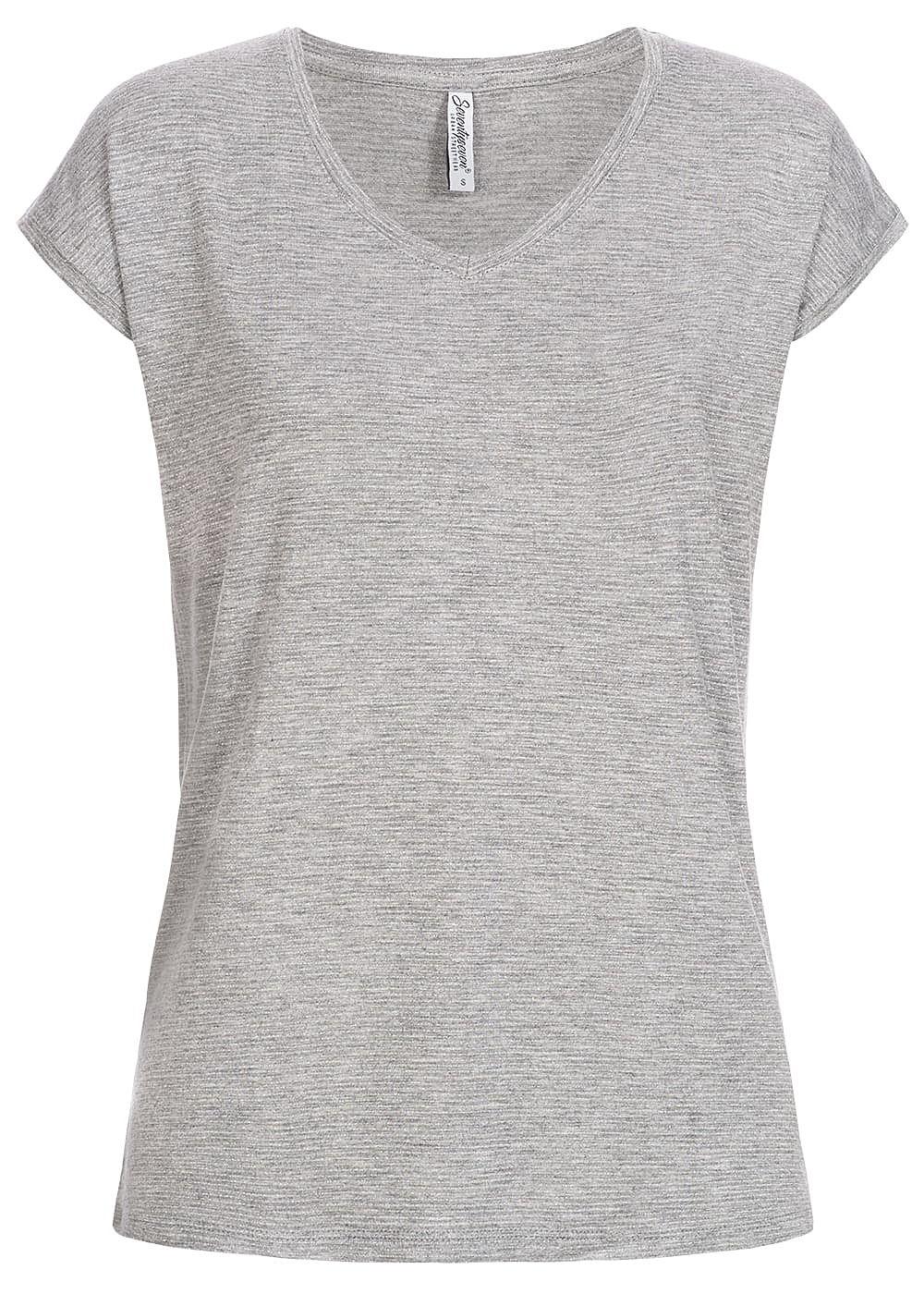 Seventyseven Lifestyle Damen T-Shirt Lurex Streifen grau