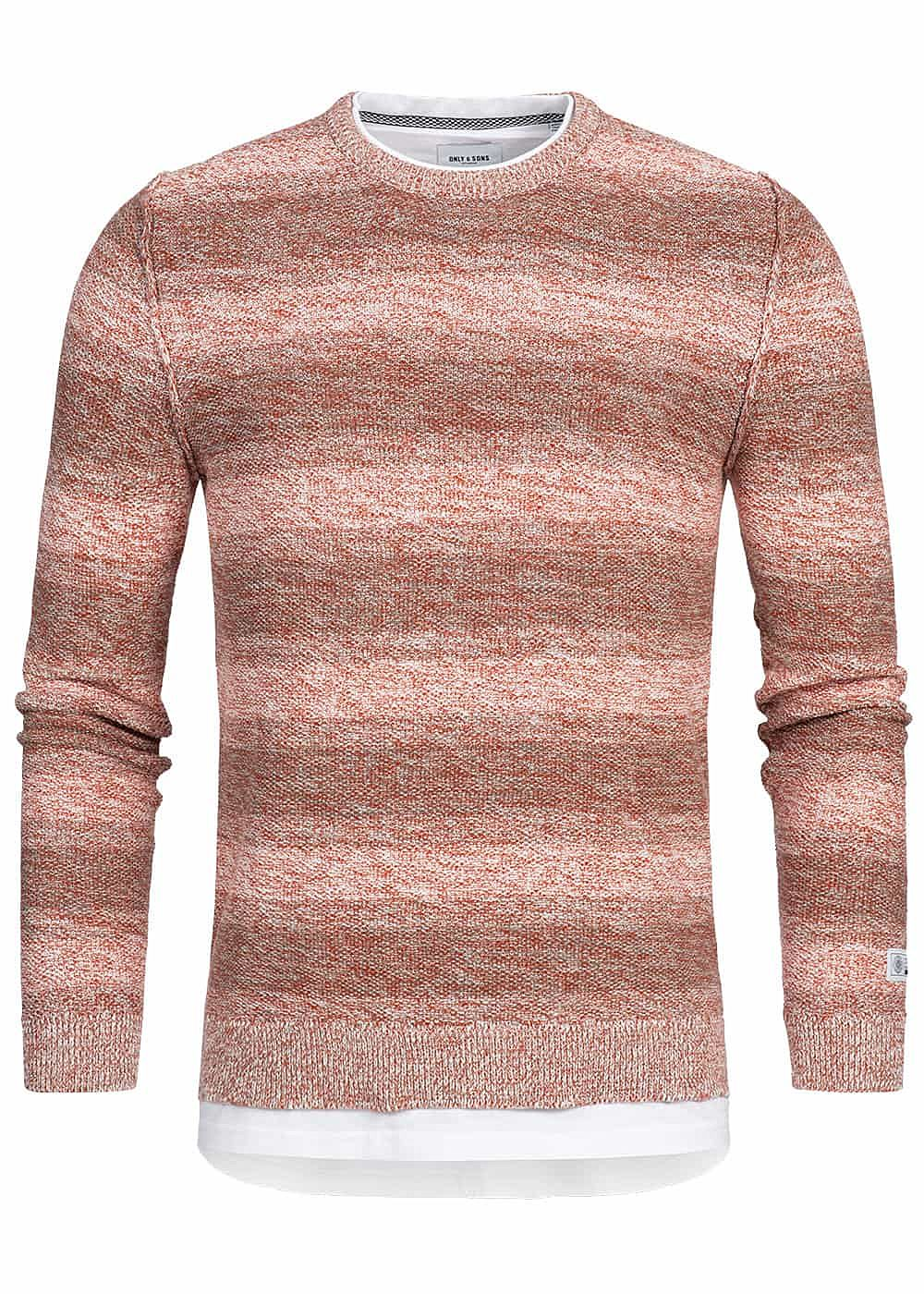 ONLY & SONS Herren Sweater 2in1 Optik rooibos tea rot - Art.-Nr.: 19010079-S-RE