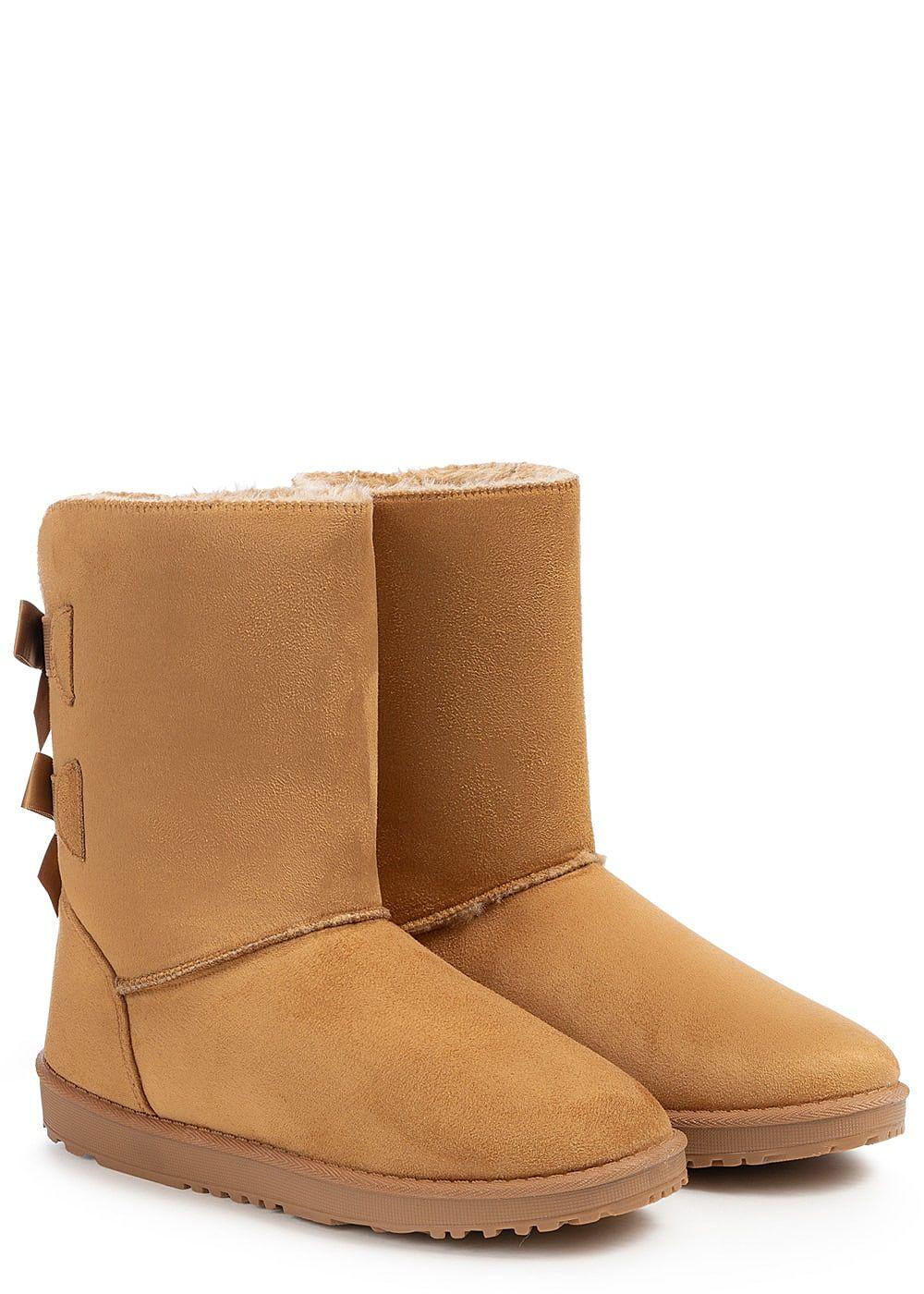 51cc43637a0c4e Seventyseven Lifestyle Damen Schuh Winter Boots Schleifen Kunstleder ...