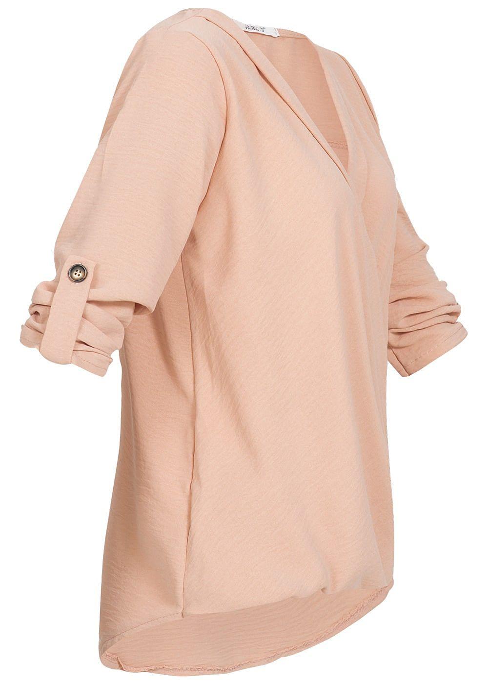7bcc596cdd7e69 Hailys Damen 3 4 Arm Shirt Knotendetail vorne dunkel rosa - 77onlineshop