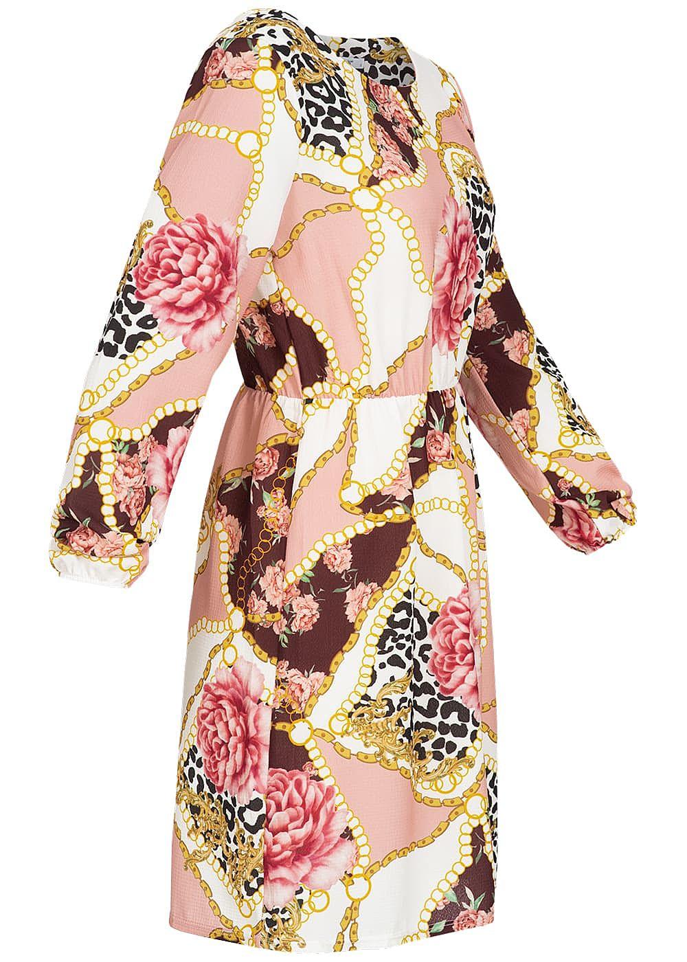 hailys damen kleid ketten & blumen muster rosa weiss gelb