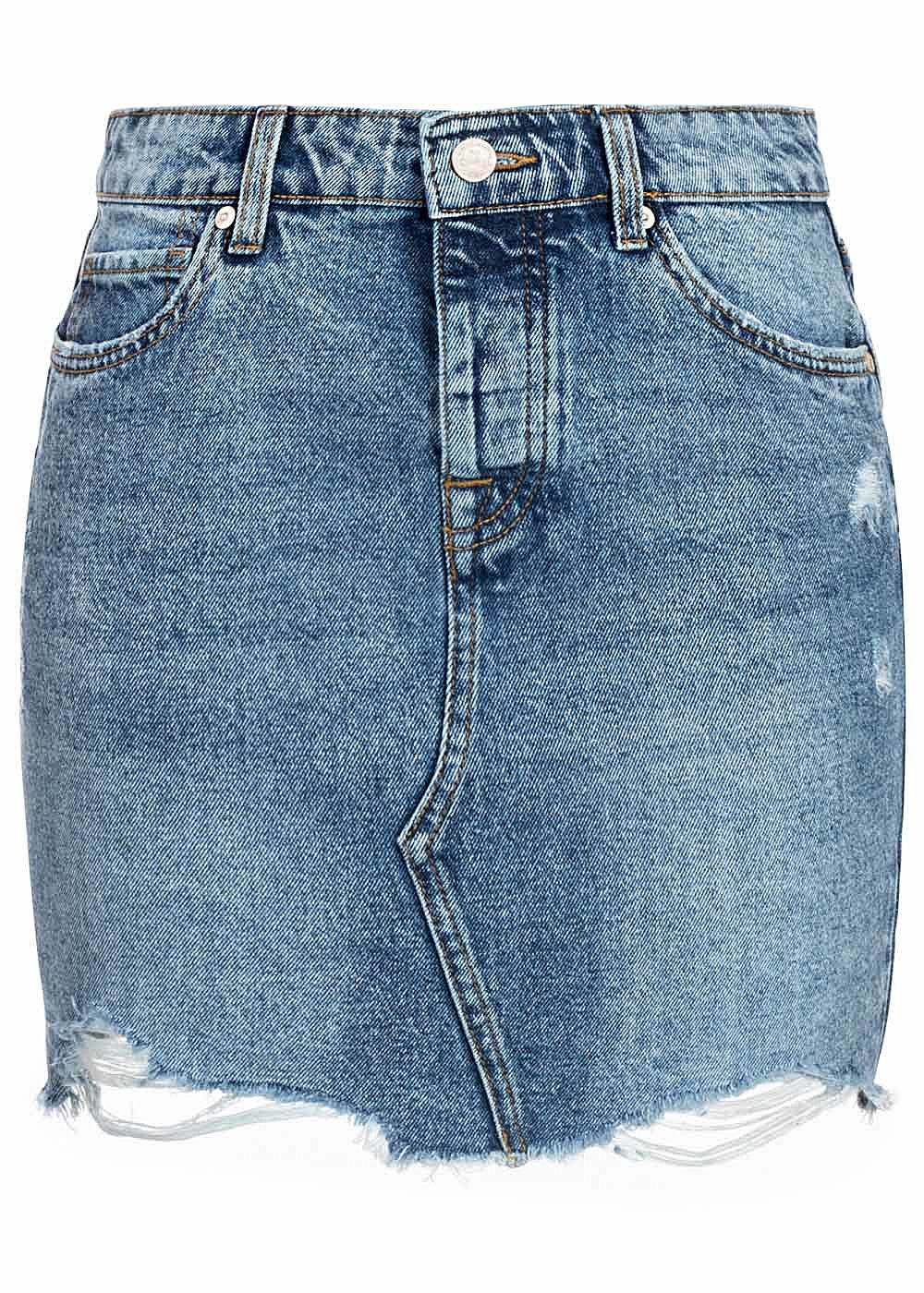 ONLY Damen NOOS Jeans Rock Destroy Look Fransen 5-Pockets hell blau denim - Art.-Nr.: 20031416