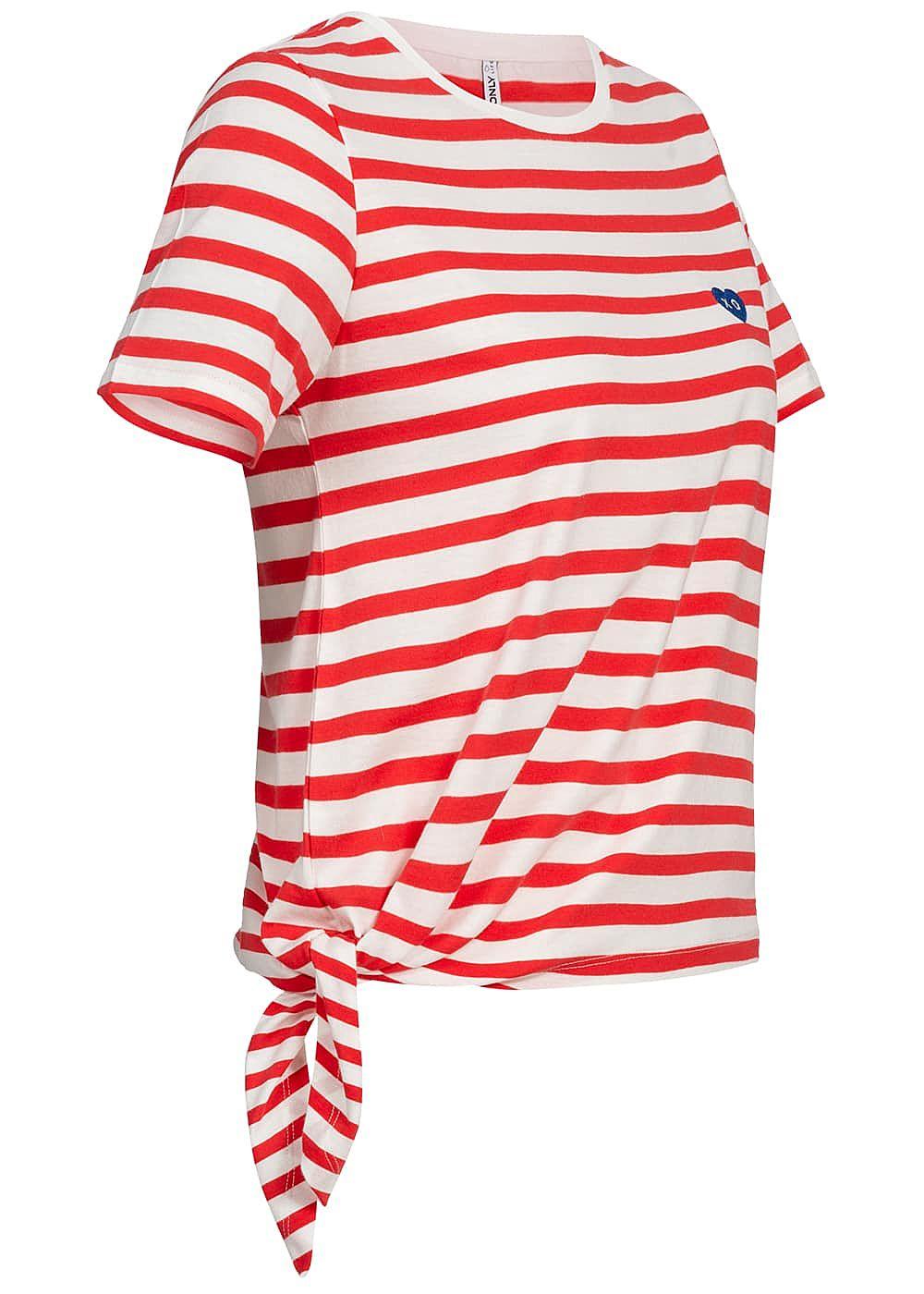 6854a314af0ae7 ONLY Damen T-Shirt Streifen Muster rot weiß - 77onlineshop