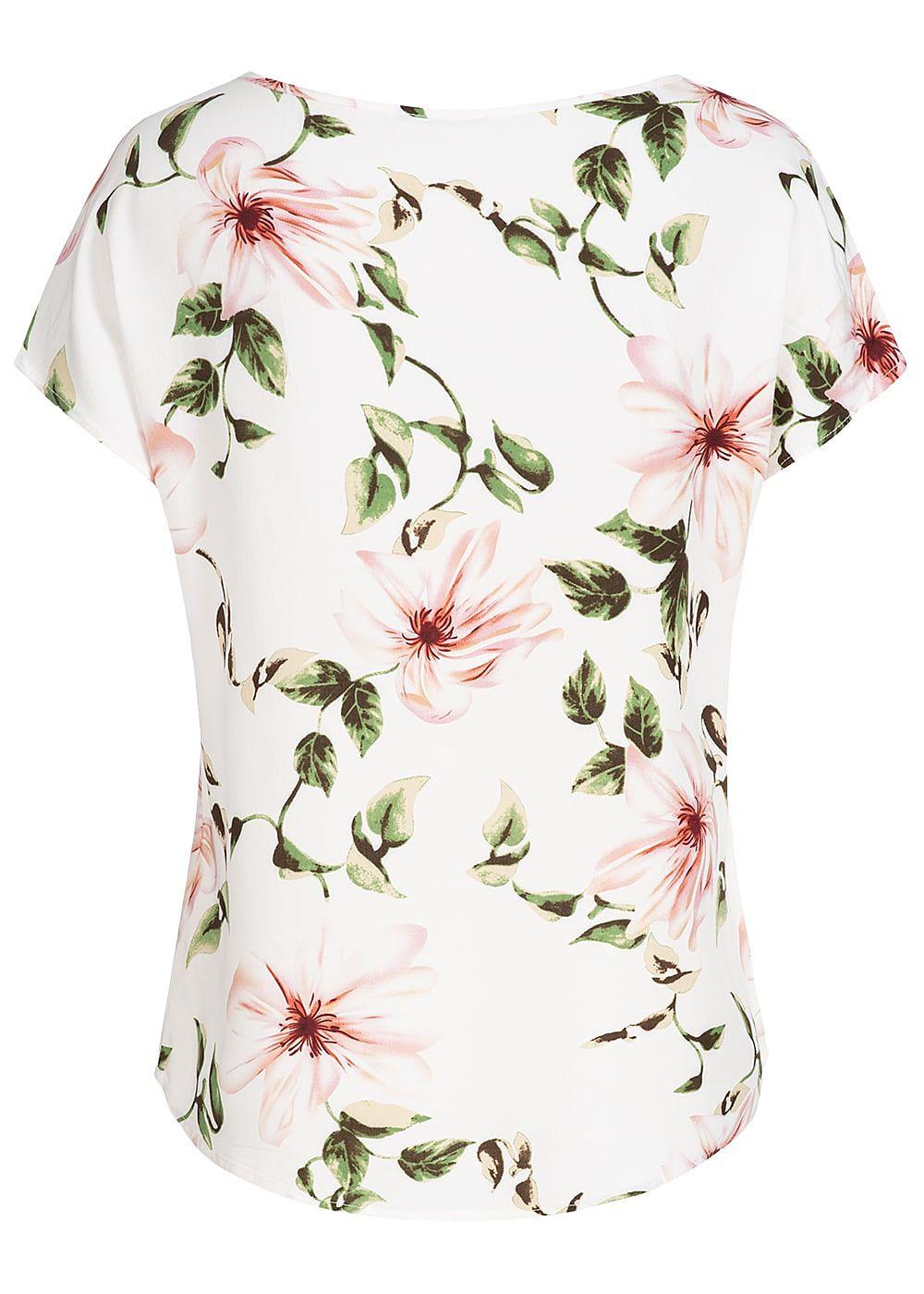 962565a92ca4a7 Seventyseven Lifestyle Damen Blusen Shirt Blumen Print off weiss grün rosa