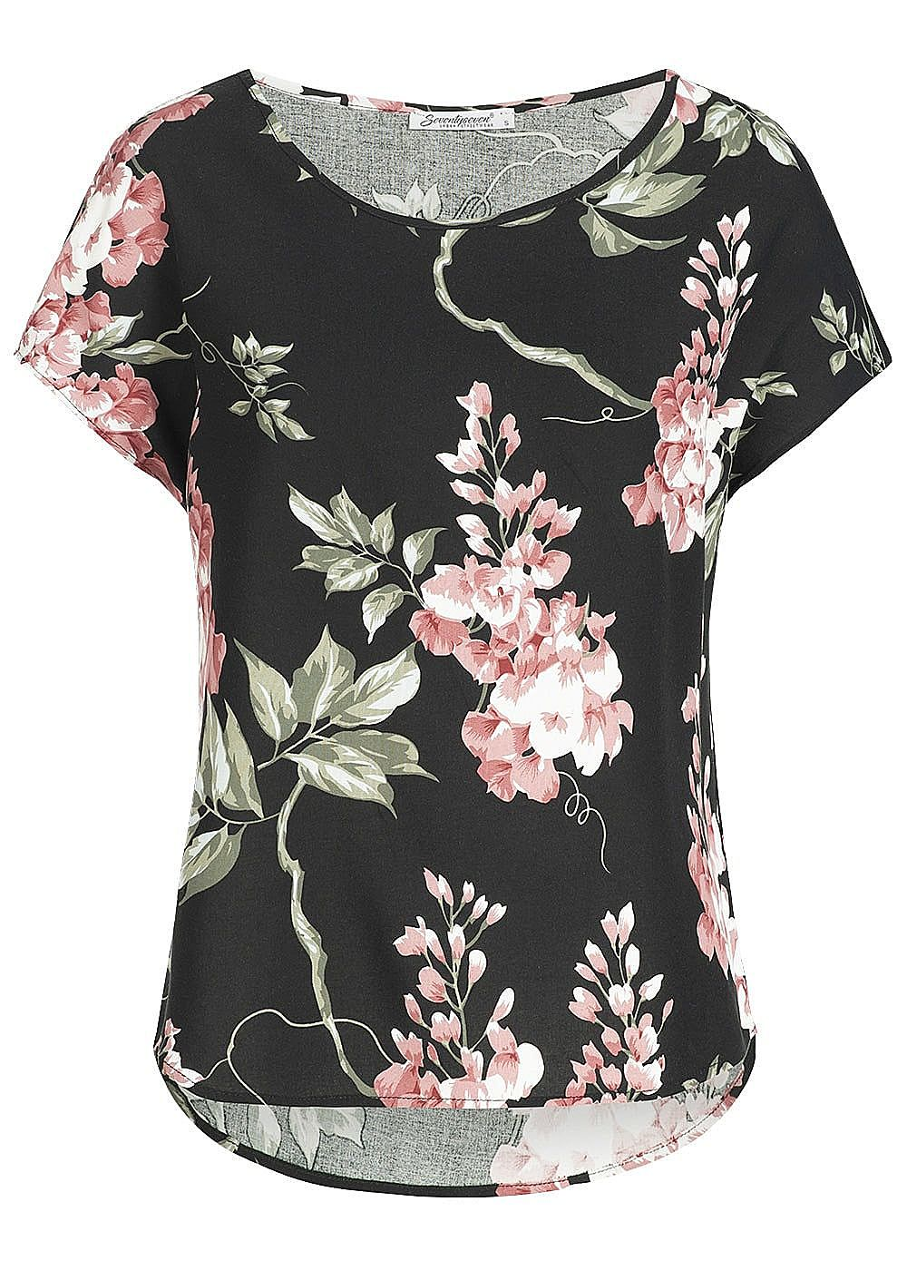 a4c17f959e379f Seventyseven Lifestyle Damen Blusen Shirt Blumen Print schwarz rosa grün