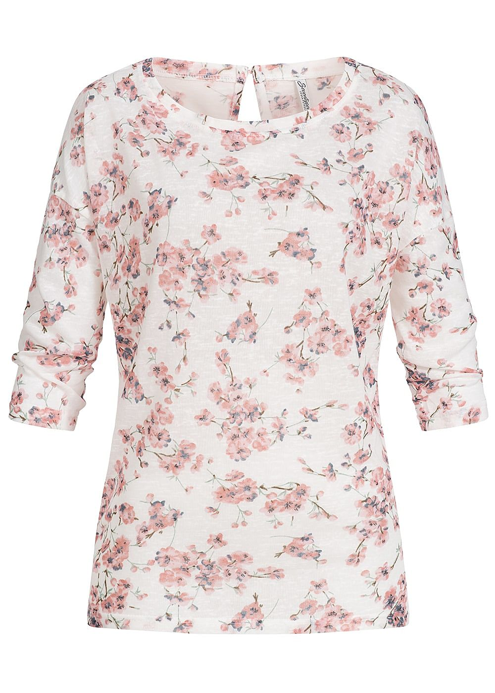 Seventyseven Lifestyle Damen 3/4 Arm Shirt Blumen Print off weiss rosa - Art.-Nr.: 19019020