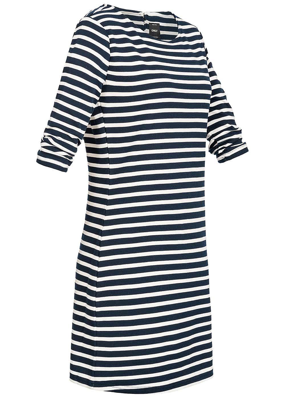 ONLY Damen 3/4 Arm Kleid Streifen Muster NOOS sky captain ...