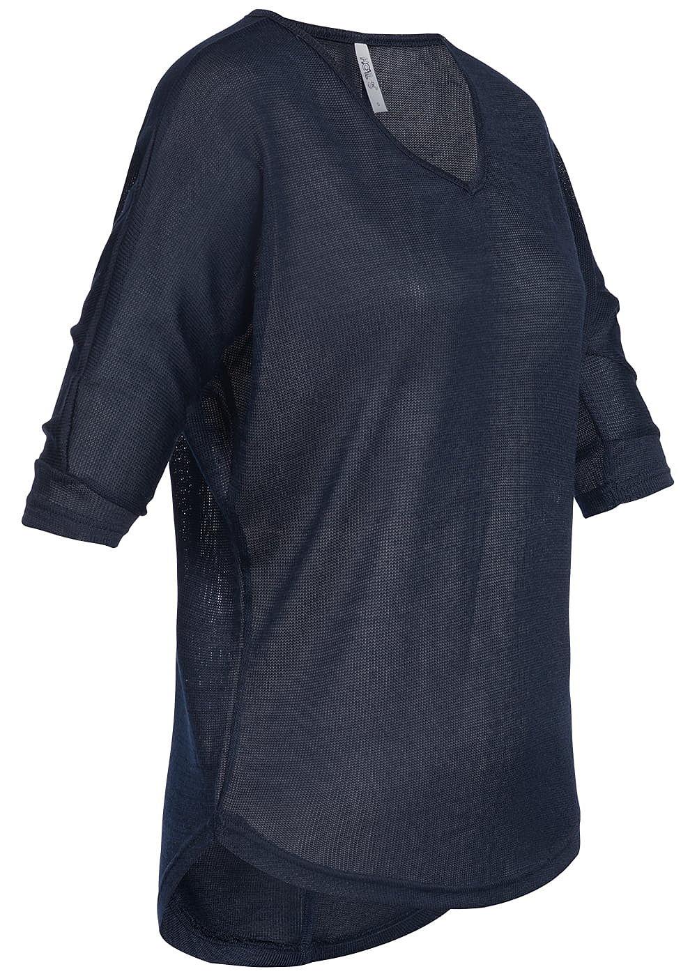2bdc0f097d047a Hailys Damen 3 4 Sleeve Shirt navy blau - 77onlineshop