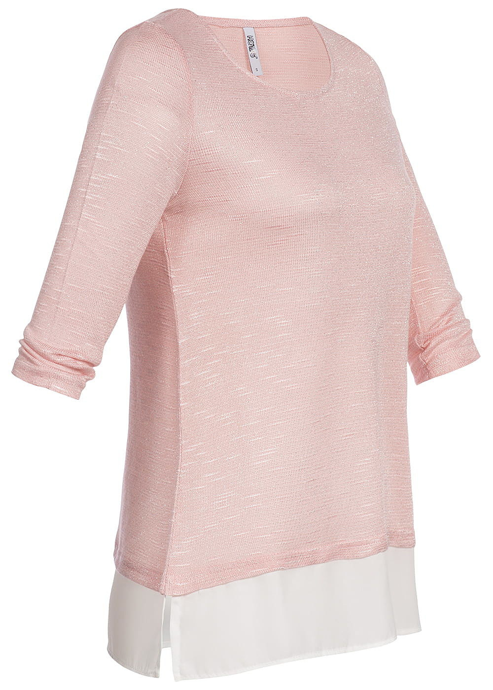 6ccd1831e601da Hailys Damen 2in1 3 4 Sleeve Shirt Allover Glitter rosa - 77onlineshop