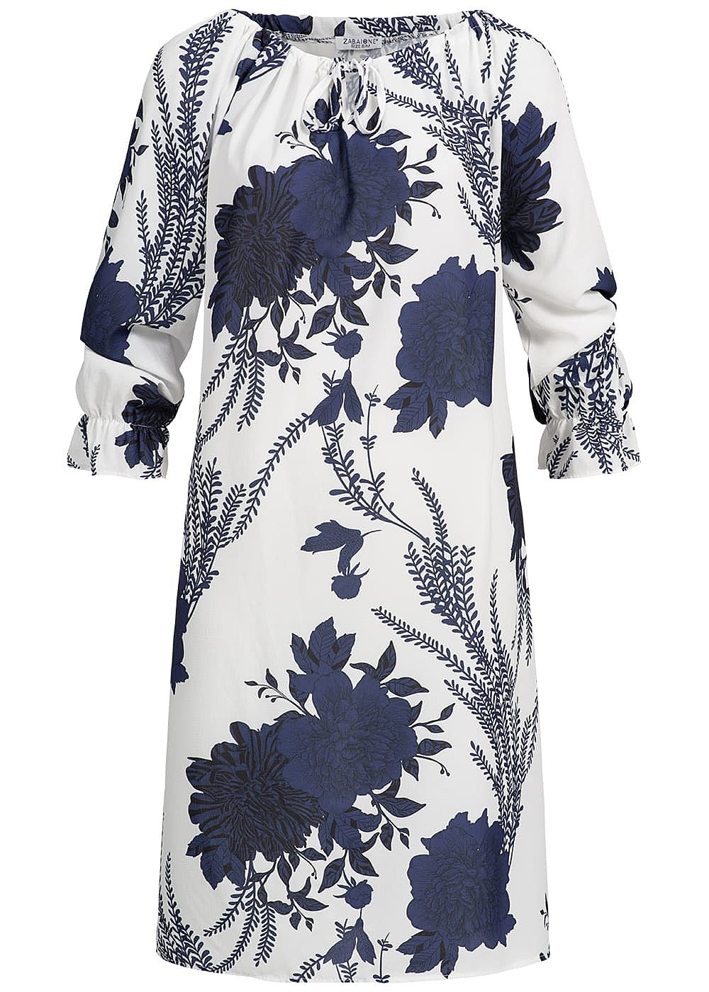 Zabaione Damen Oversized Off-Shoulder Dress Flower Print navy blau weiss - Art.-Nr.: 19020687