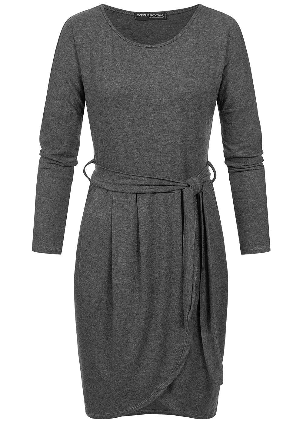 Styleboom Fashion Damen Longsleeve Dress Belt dunkel grau - Art.-Nr.: 19026162-XS-DG