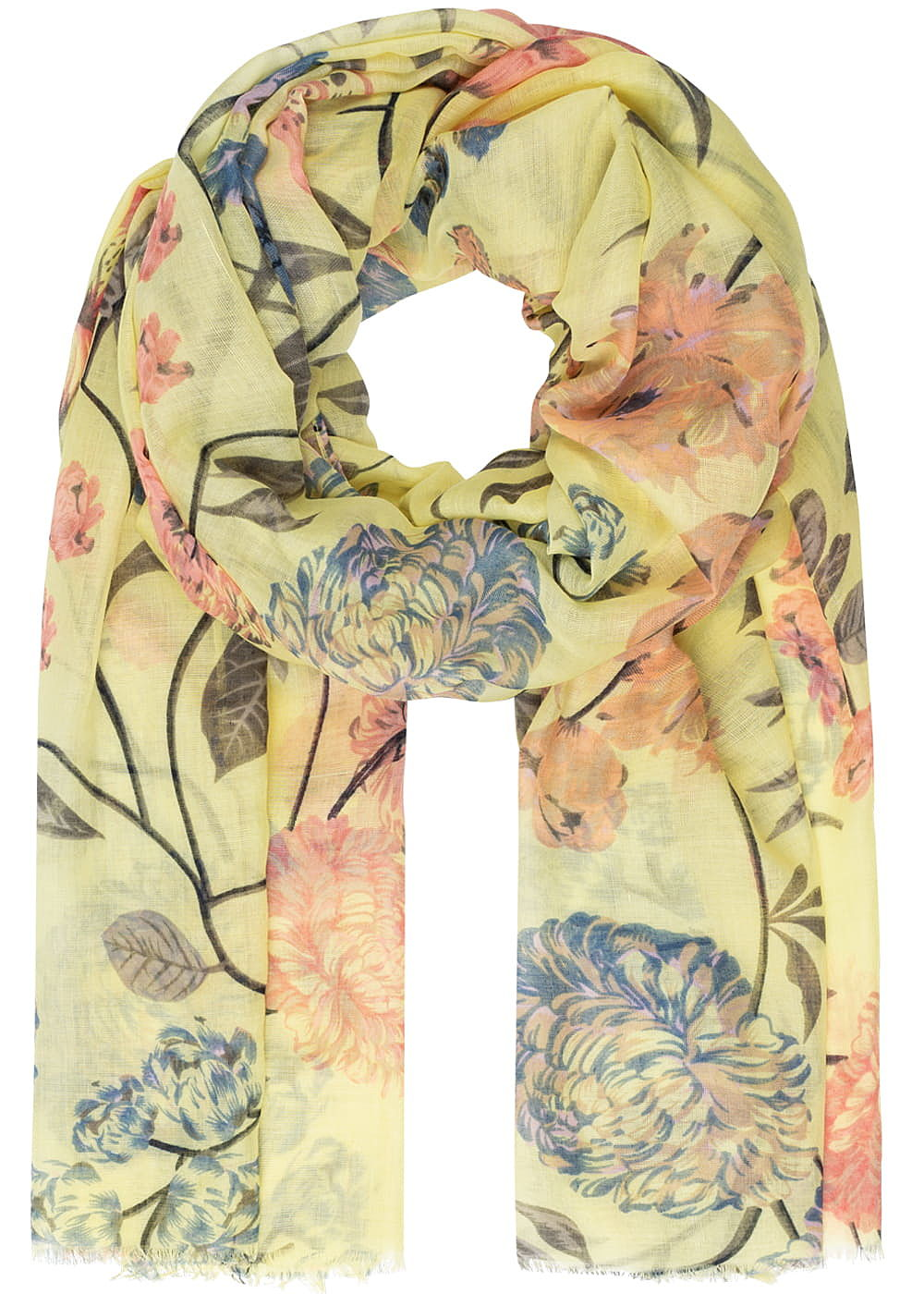 ONLY Damen Weaved Scarf Flower Print popcorn gelb - Art.-Nr.: 19030728-OS-YE