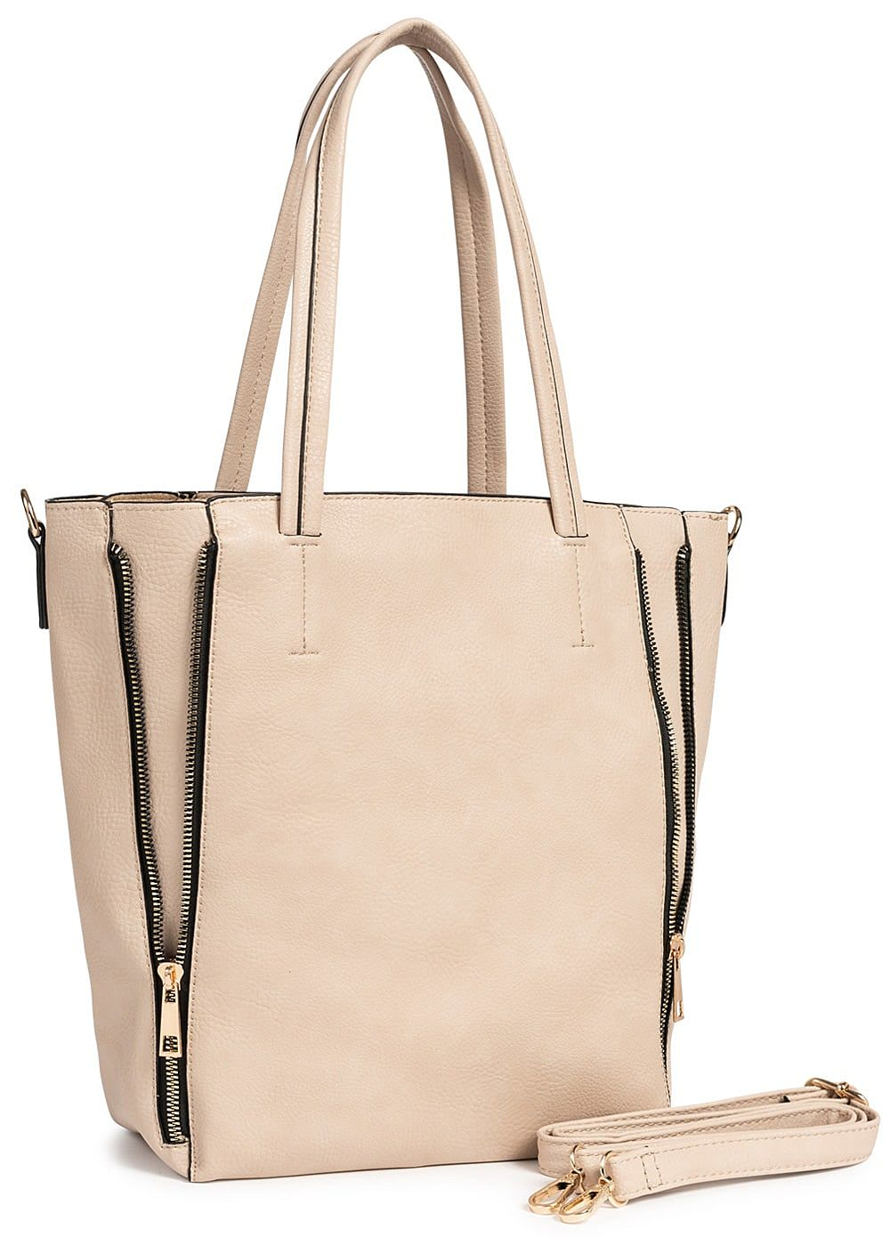 Styleboom Fashion Damen 2in1 Tote Zip Bag hell rosa pink - Art.-Nr.: 19030786-OS-RS